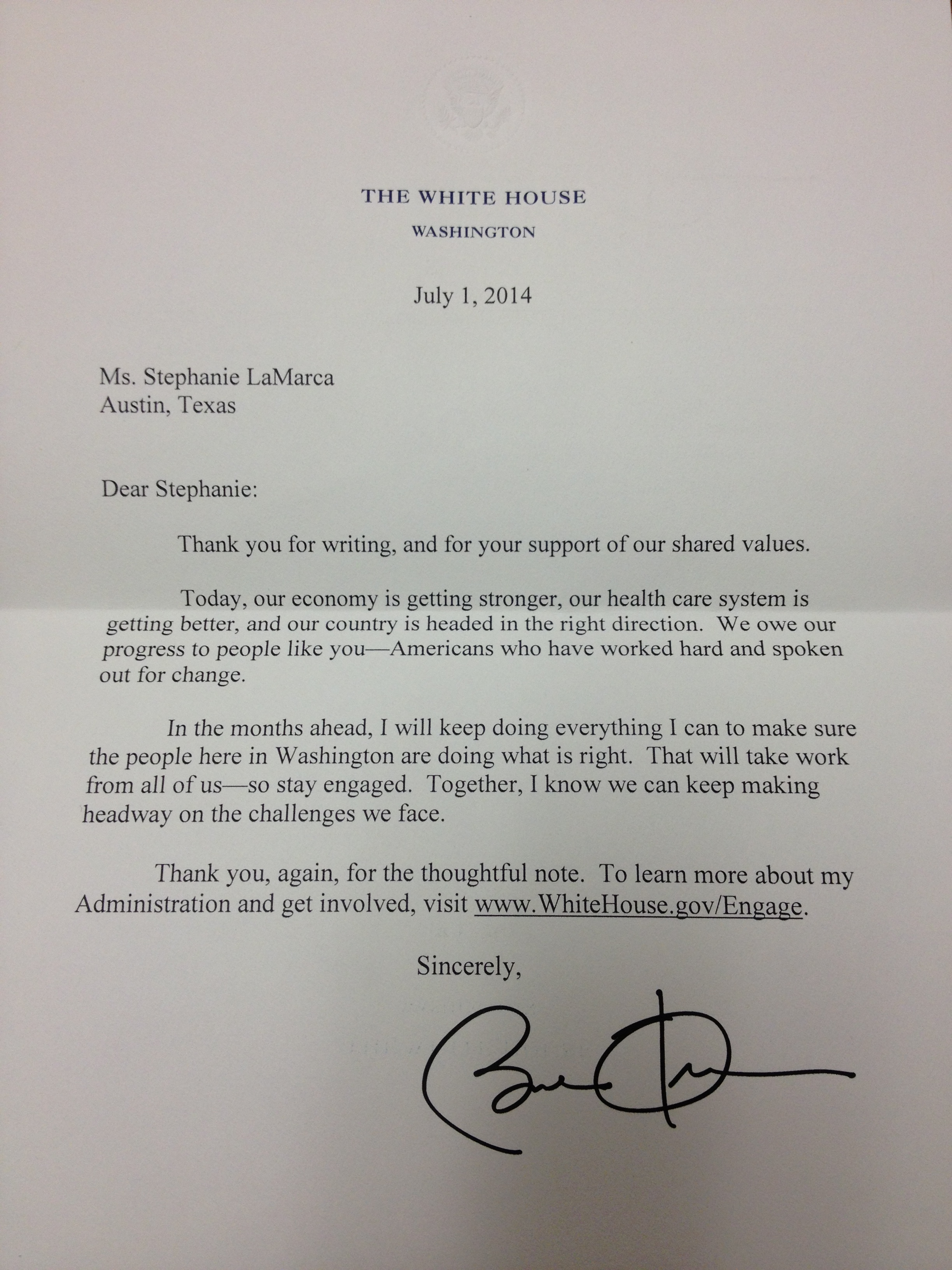 gratitude is appreciated even by the president of the united stephanie s letter from president obama