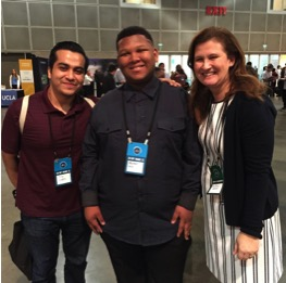 Tilo Lopez (CAC adviser), left, with Matthew Hill (student from Rancho Dominguez Preparatory School who was hired by Starbucks) and Dr. Nicole Hurd (Founder and CEO of CAC)